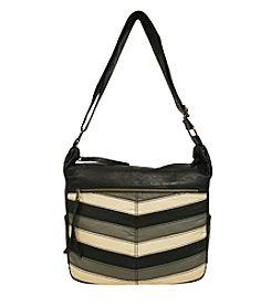 GAL Multi Chevron Washed Multi Pocket Hobo Crossbody