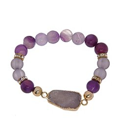 L&J Accessories Natural Elements Genuine Stone Stretch Bracelet With Druzy Stone