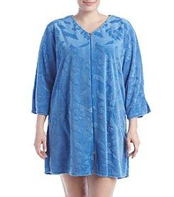 Miss Elaine® Plus Size Daisy Zip Front Robe