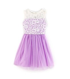 Sequin Hearts® Girls' 7-16 Lilac Crocket Illusion Neck Dress