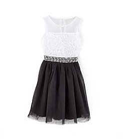 Sequin Hearts® Girls' 7-16 Fit And Flare Dress With Rhinestone Belt