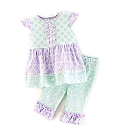 Cuddle Bear® Baby Girls' 2-Piece Printed Capris Set