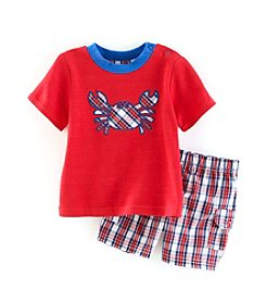 Cuddle Bear® Baby Boys 2-Piece Crab Top And Plaid Shorts Set