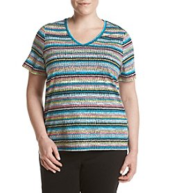 Studio Works® Plus Size Stripe Print V-Neck Top
