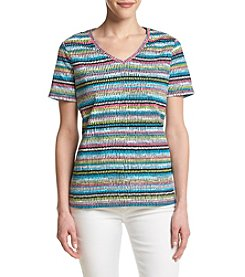 Studio Works® Petites' Stripe Print V-Neck Top
