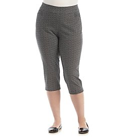 Studio Works® Plus Size Pattern Wide Waistband Pull On Capri Pants