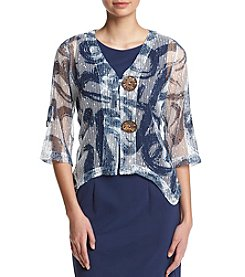 Nina Leonard® Printed Sheer Coconut Button Shrug