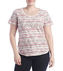 Ruff Hewn Plus Size Faded Striped Shirttail Top