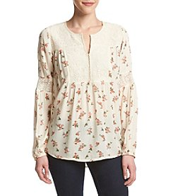 Ruff Hewn Petites' Lace Yoke Top