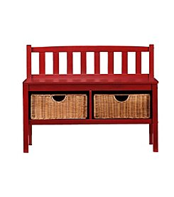 Southern Enterprises Bench with Storage Baskets