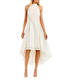 Nicole Miller New York™ Lace Matte Satin High Low Dress