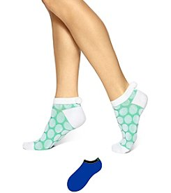 HUE® Dot Pom Pom No Show 2-Pack Socks