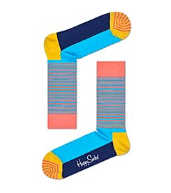 Happy Socks Men's Half Stripe Dress Socks