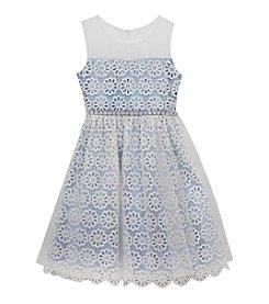 Rare Editions® Girls' 7-16 Illusion Neck Dress