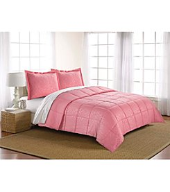 LivingQuarters Reversible Microfiber Down-Alternative Lily Embossed Comforter