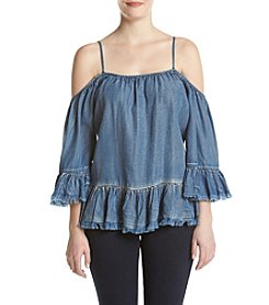 Sequin Hearts® Chambray Cold-Shoulder Top