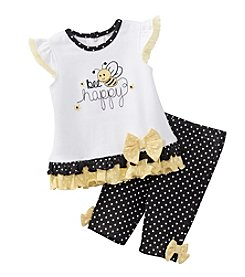 Cuddle Bear® Baby Girls' 2-Piece Bee Happy Capri Set
