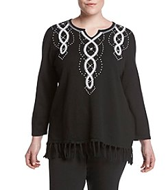 Alfred Dunner® Plus Size City Life Fringe Sweater