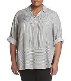 Cupio Plus Size Lace Up Tunic