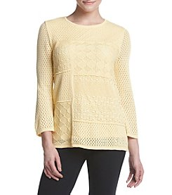 Alfred Dunner® Petites' Solid Patch Pointelle Sweater