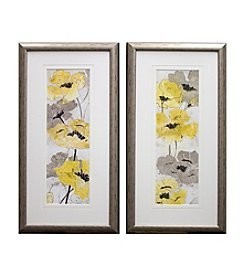 Yellow Silver Poppies Framed Art Set of 2