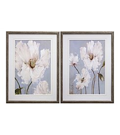 White Blue Floral Framed Art Set of 2
