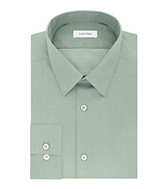 Calvin Klein Men's Solid Herringbone Slim Fit Non Iron Dress Shirt