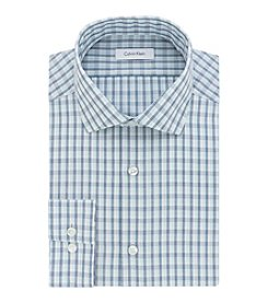 Calvin Klein Men's Slim Fit non Iron Checkered Spread Dress Shirt
