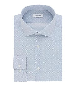 Calvin Klein Men's Slim Fit Print Spread Collar Dress Shirt