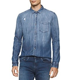 Calvin Klein Men's Long Sleeve Dip Dye Denim Shirt