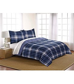 Living Quarters Noah Navy Plaid Reversible Microfiber Down-Alternative Comforter