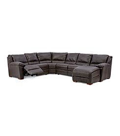 Natuzzi Editions® Genoa Four Piece Power Reclining Leather Sectional