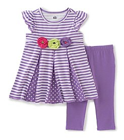 Kids Headquarters® Baby Girls' 2- Piece Striped Tunic Top And Solid Capri Set