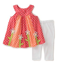 Kids Headquarters® Baby Girls' 2-Piece Polka-Dotted Tunic Top And Leggings Set