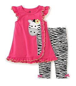 Kids Headquarters® Baby Girls' 2-Piece Zebra Tunic Top And Leggings Set