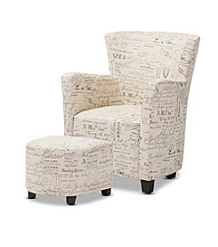 Baxton Studios Benson Chair and Ottoman Set