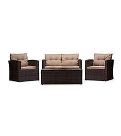 Baxton Studios Imperia Wicker - Rattan 4-Pc. Outdoor Patio Set