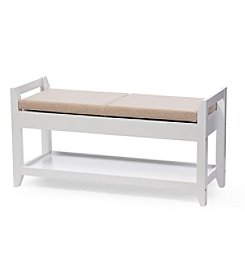 Baxton Studios Maudie Shoe Storage Seating Bench With Cushion
