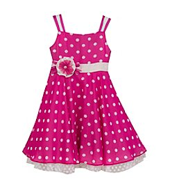 Rare Editions® Girls' 2T-4T Magenta Chiffon Polka-Dot Dress