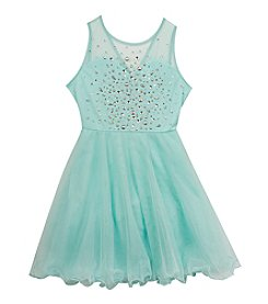 Rare Editions® Girls' 7-16 Mesh Dress With Beads