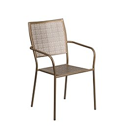 Flash Furniture Indoor-Outdoor Steel Patio Arm Chair with Square Back