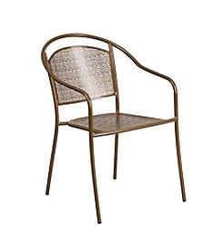 Flash Furniture Indoor-Outdoor Steel Patio Arm Chair with Round Back