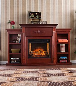 Southern Enterprises Tennyson Infrared Fireplace with Bookcases