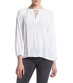 Kensie® Tie Neck Peasant Top