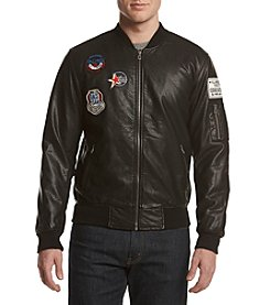 Distortion® Men's Faux Leather Bomber Jacket