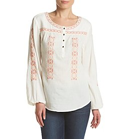 Ruff Hewn Embroidered Gauze Top
