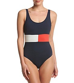 Tommy Hilfiger® Flag Color Block One Piece