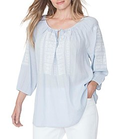Chaps® Plus Size Embroidered Peasant Top
