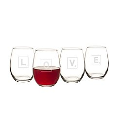 Cathy's Concepts Love Letter Set of 4 15-oz. Stemless Wine Glasses