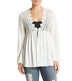 Sequin Hearts® Woven Lace Cardigan